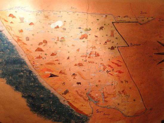 Londiningi Guesthouse : carte de namibie dans la salle du diner