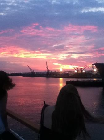 Spirit of Philadelphia: View from deck as sunset