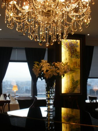 Monet Fine Dining: Interior of Monet Restaurant with view of UB