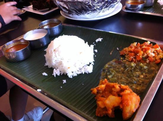 Sakunthala's Food Palace: take the set meal for $3.50 comes with veggies!