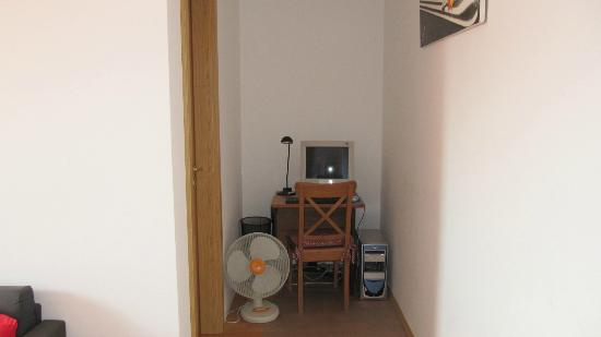 Bell Apartments: Computer in a corner of the common room