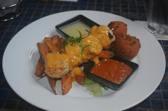 Blue Mermaid Island Grill: Wood fire Grilled Scallops, Corn Fritters ...