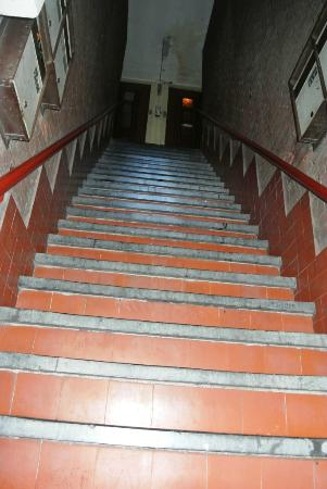 Amigo Budget Hostel: Stairs to get to the reception counter