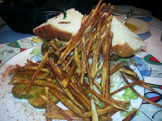 Martini's Restaurant: Pittsburg Steak Burger with Fries - Med-Rare Ordered