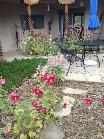 Adobe & Stars Bed and Breakfast Inn of Taos: Lovely courtyard with hollyhocks in full bloom!