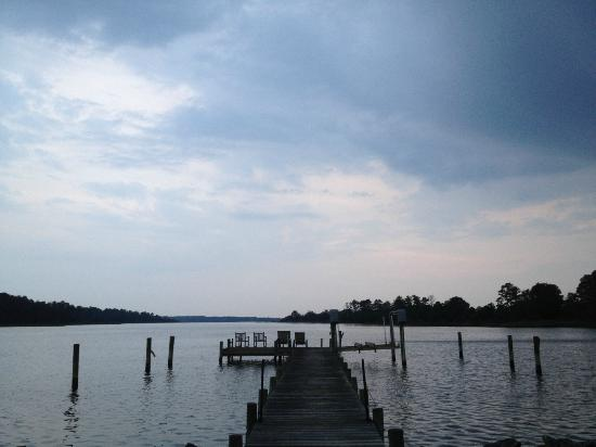 Inn at Warner Hall: Looking out the boathouse right before the storm