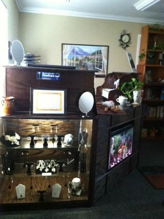 Divine Massage Therapy: Our reception area, featuring jewelry for sale by local jeweler Jaynemarie Crawford.