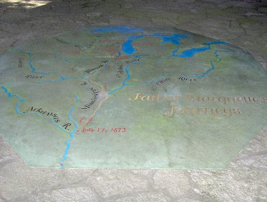 Father Marquette National Memorial and Museum: Map of his travels on the floor of outdoor exhibit.
