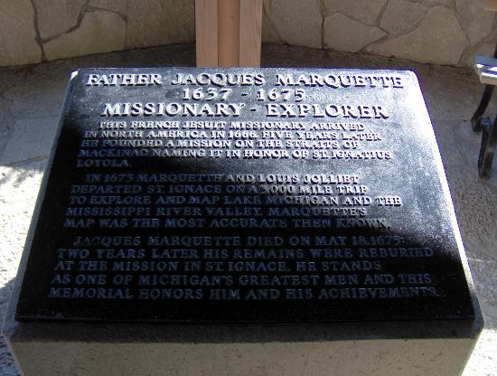 Father Marquette National Memorial and Museum: Memorial in outdoor exhibit.