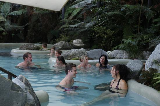 Enjoying the public pools at the Glacier Hot Pools