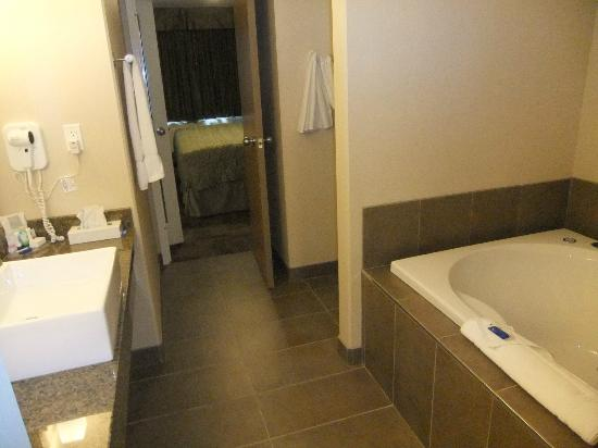 Woodlands Inn & Suites : Lovely big bathroom with amazing soaker tub and a washer & dryer!!