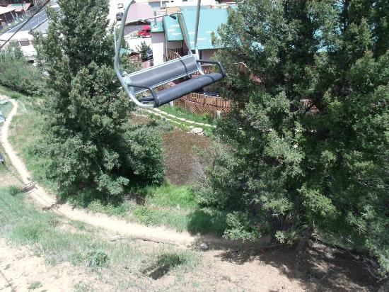 Red River, NM: View of hotel / river from ski lift.
