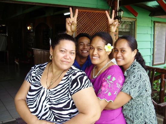 "Va-i-Moana Seaside Lodge: Magnificent staff.  The star of ""Samoa's Got Talent"" at the rear"