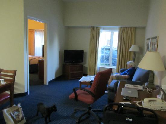 Residence Inn Williamsburg: The living room area, with a view through the door to the bedroom.