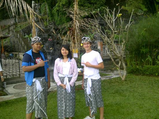 Tirta Ayu Hotel & Restaurant: My son, my daughter & my host son @ Tirta Ayu