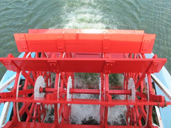Chautauqua Belle Steamboat : The paddle wheel churning through the water.