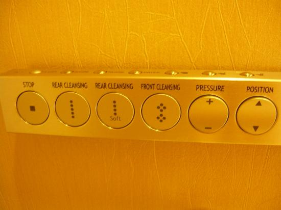 Hotel Mulia Senayan, Jakarta: Close up of the toilet seat controls