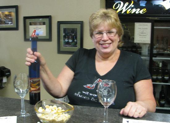 Eagles Landing Winery: Our hostess, Joann.