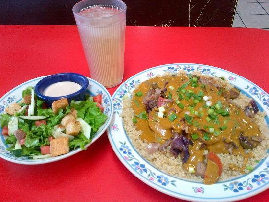Sweet Pea Cafe : Curry On My Wayward Son- Sauteed vegatables, and tempeh in a peanut curry sauce, over quinoa.