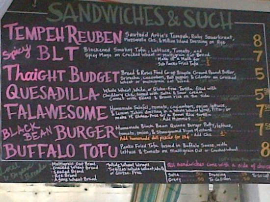 Sweet Pea Cafe : Wednesday's Menu Board