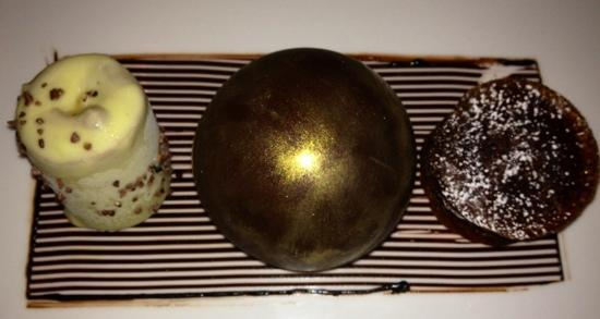 Aureole: chocolate trio. gold ball with choc moose is heaven!