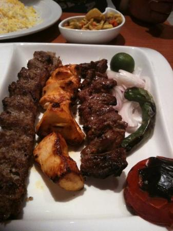 Persia Restaurant: mixed kabab: lamb, chicken and beef.