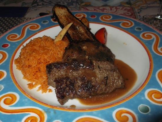 SUNRISE Garden Beach Resort -Select- : In the mexican, steak and rice.