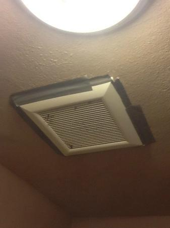 Travelodge Whittier: exhaust fan held up with Duct Tape