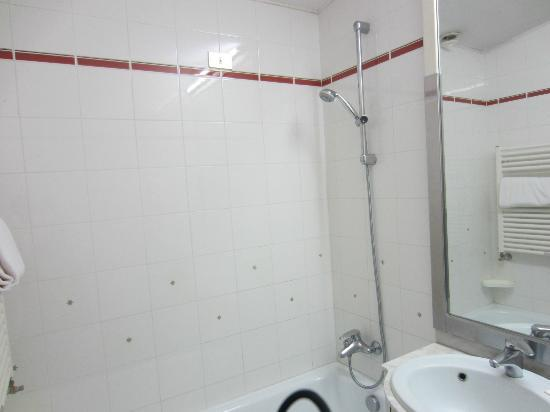 Alexander Hotel: No Shower Curtain
