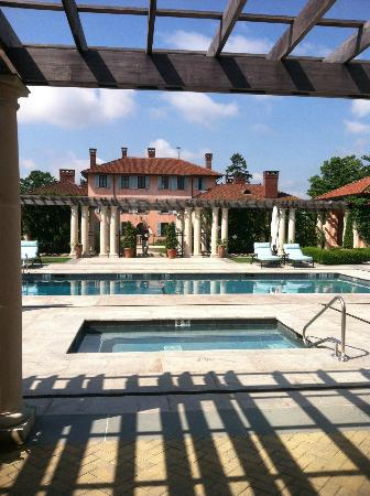 Glenmere Mansion: At the pool area, looking back to mansion.