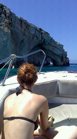 "Oniro ""The Dream"" Studios: Maria on the boat near the Blue Caves"