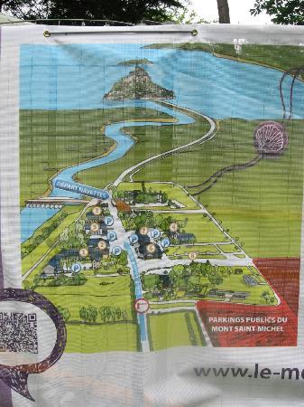 banner map at parking lot picture of abbaye du mont saint michel mont saint michel tripadvisor. Black Bedroom Furniture Sets. Home Design Ideas