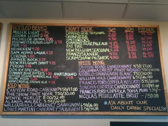 The Joint: wine and beer menu