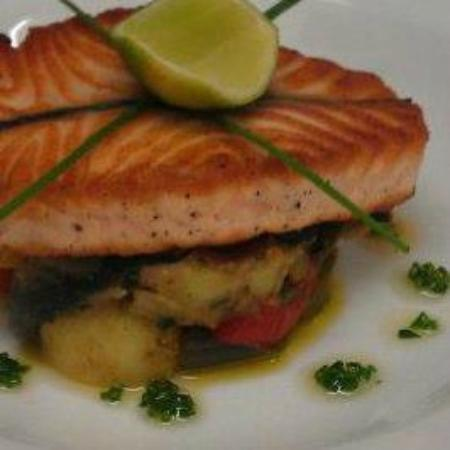 the green room: scottish salmon with roast vegetable & potato ratatoullie