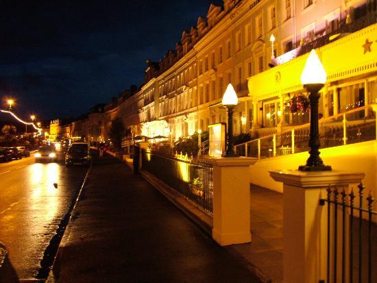 Hotels along promenade.