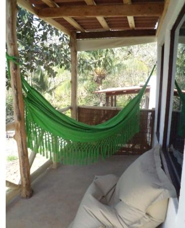 Hostal del Mar: Each cabin has a private deck with a hammock and a beach bean bag.