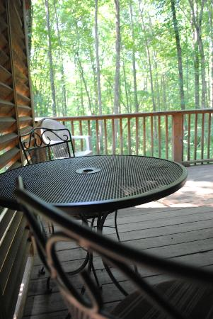 Old Man's Cave Chalets: aframe covered back porch and table.