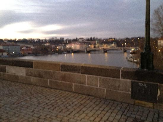 Prague Day Trips : We saw the river during our daytime walking tour. I took this picture later that evening.