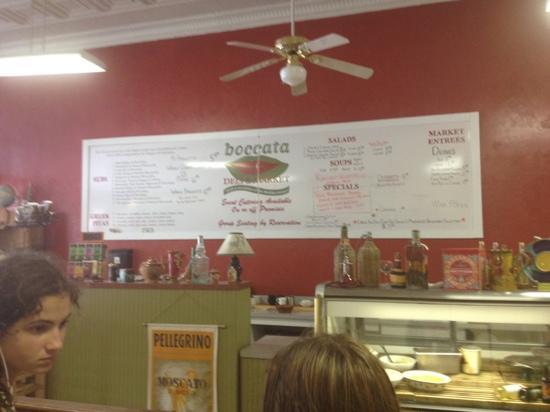 Boccata: the menu board