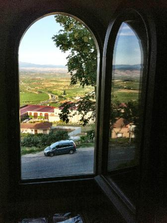 Erletxe: A view from our room across the vineyards toward Elciego.