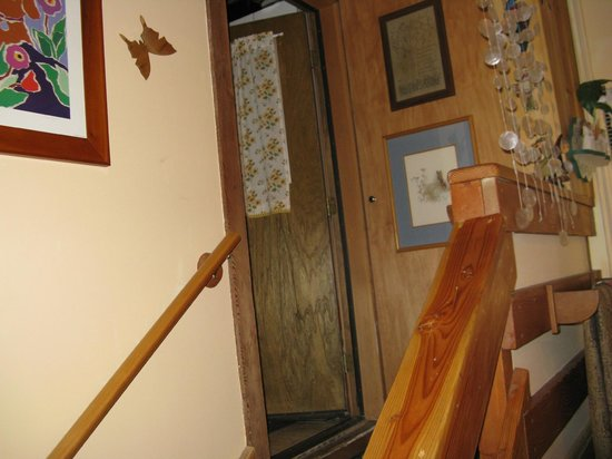 The Old Bear Bed And Breakfast: Bathroom is up these stairs, off the laundry room.