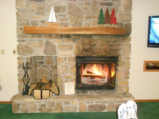 The Rushes: Wood burning fireplace