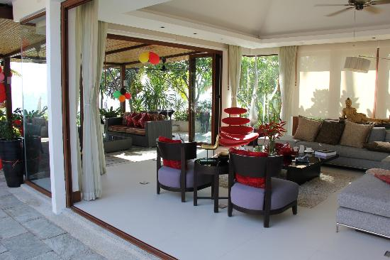 Lotus Samui: Living room that opens up.