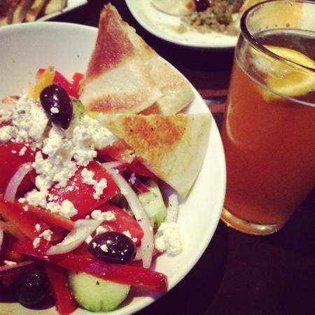 Opa! Authentic Greek Cuisine: Greek salad and blue moon