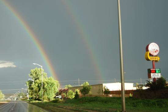 Rudy's Country Store and Bar-B-Q: After-dinner-full-belly double rainbow we saw!
