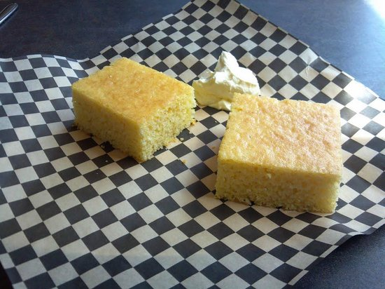 Bo-Mack's BBQ Express: Warm sweet cornbread with honey butter served when you are seated.