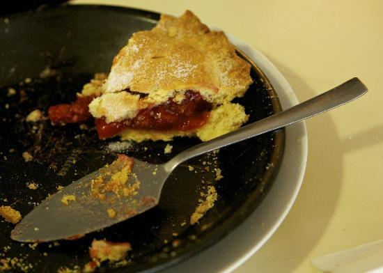 Molly Bloom's: Rhubarb tart - generous filling, light pastry. Only one slice left!