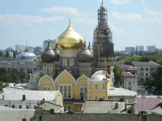 Black Sea Risheliyevskaya: View from our balcony of beautiful onion domes on church.