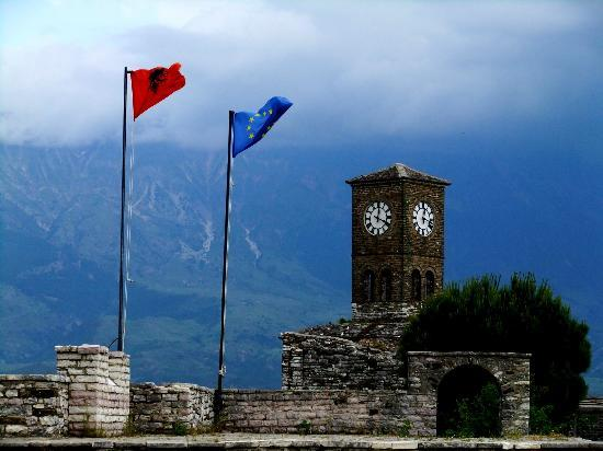 Gjirokaster, Albania: the clock tower and flags