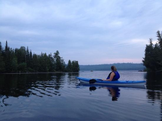 utilizing the Cross River Lodge kayaks at dusk